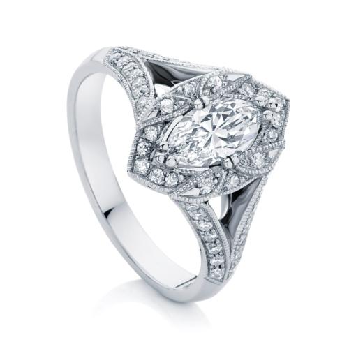 Marquise Halo Engagement Ring White Gold   Aura
