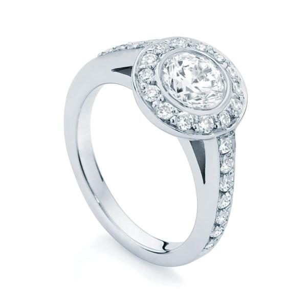 Round Halo Engagement Ring Platinum | Aurora