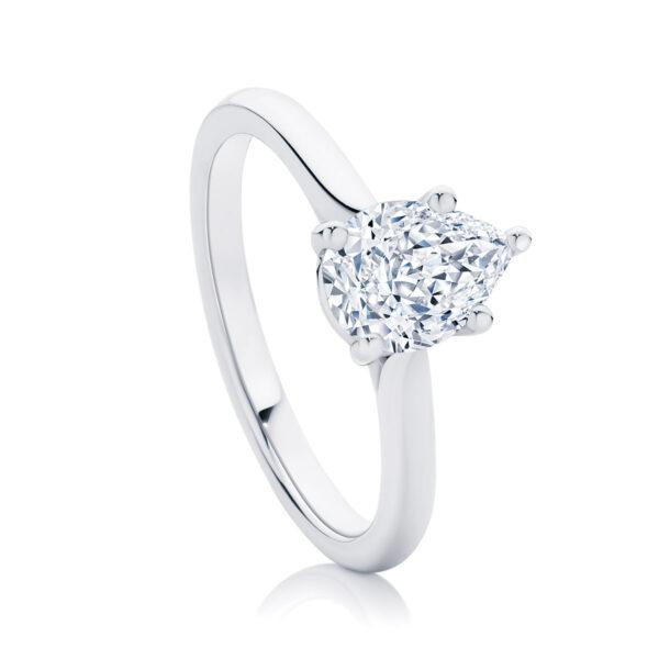 Pear Solitaire Engagement Ring Platinum | Ballerina (Pear)