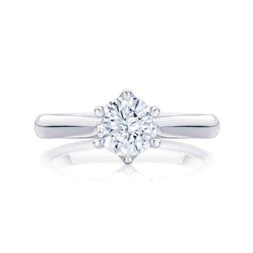 Round Solitaire Engagement Ring White Gold   Ballerina