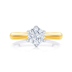Round Solitaire Engagement Ring Yellow Gold | Ballerina
