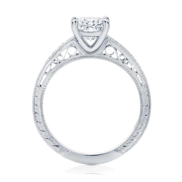 Princess Engraved Engagement Ring Platinum   Baroque