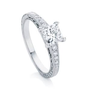 Princess Engraved Engagement Ring White Gold | Baroque