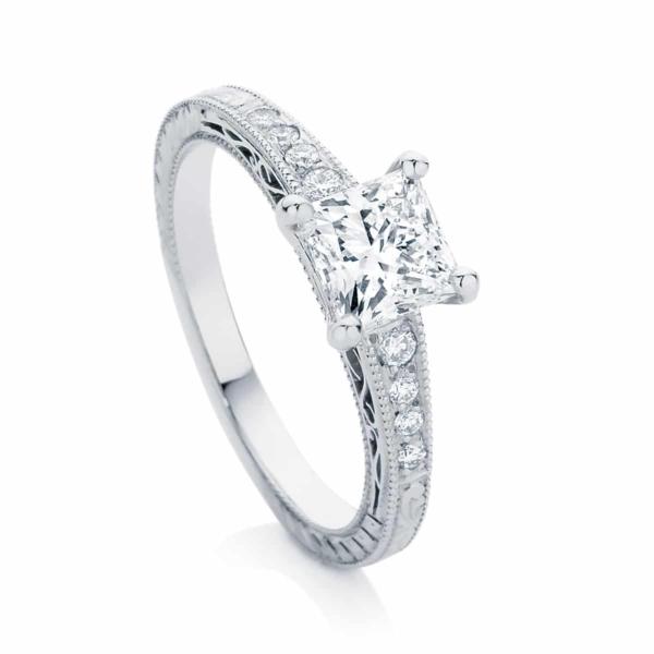 Princess Engraved Engagement Ring White Gold | Baroque