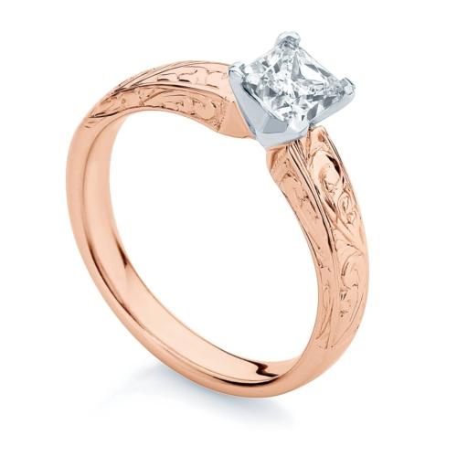 Princess Engraved Engagement Ring Rose Gold | Bella