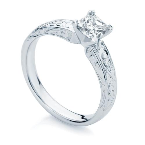 Princess Engraved Engagement Ring White Gold | Bella