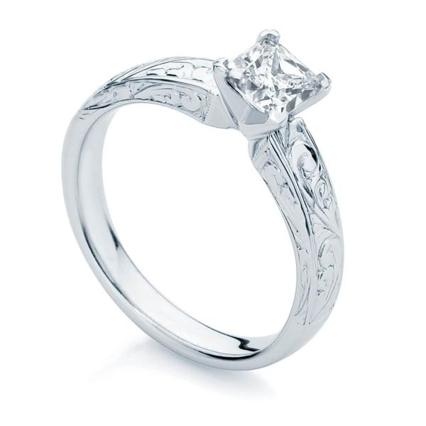 Princess Engraved Engagement Ring White Gold   Bella