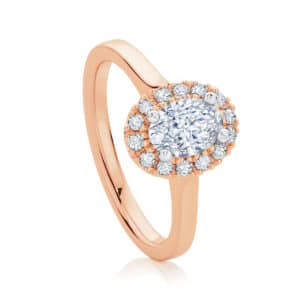 Oval Halo Engagement Ring Rose Gold | Bloom