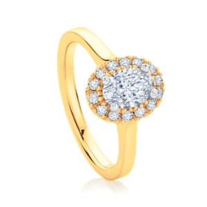 Oval Halo Engagement Ring Yellow Gold | Bloom