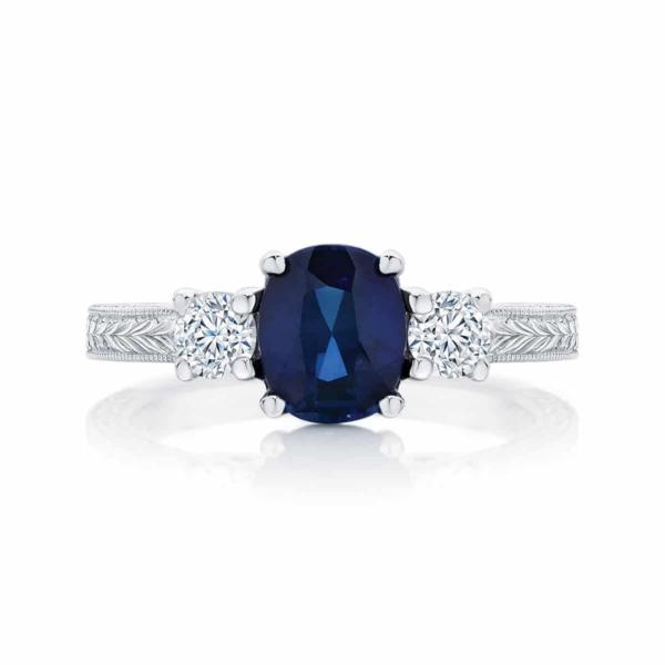 Cushion Engraved Engagement Ring Platinum | Bluebell (Engraved)