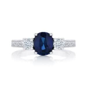 Cushion Engraved Engagement Ring White Gold | Bluebell (Engraved)