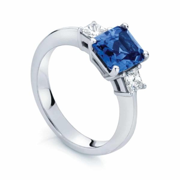 Emerald Three Stone Engagement Ring Platinum | Bluebell