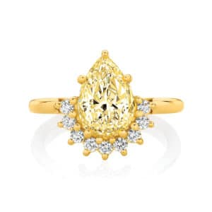 Pear Halo Engagement Ring Yellow Gold | Celestial (Fancy Yellow)