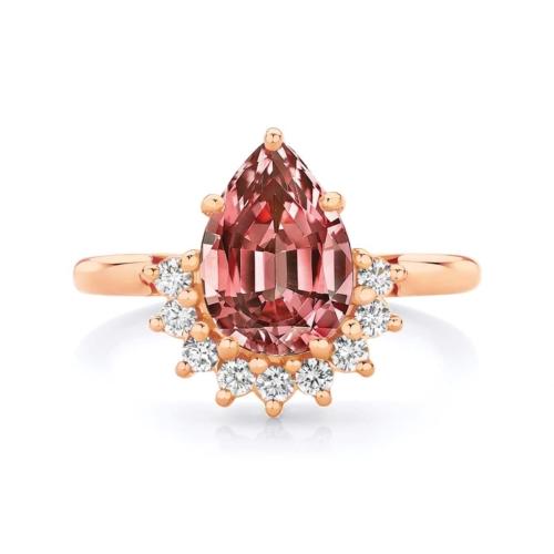 Pear Halo Engagement Ring Rose Gold   Celestial (Malaya)