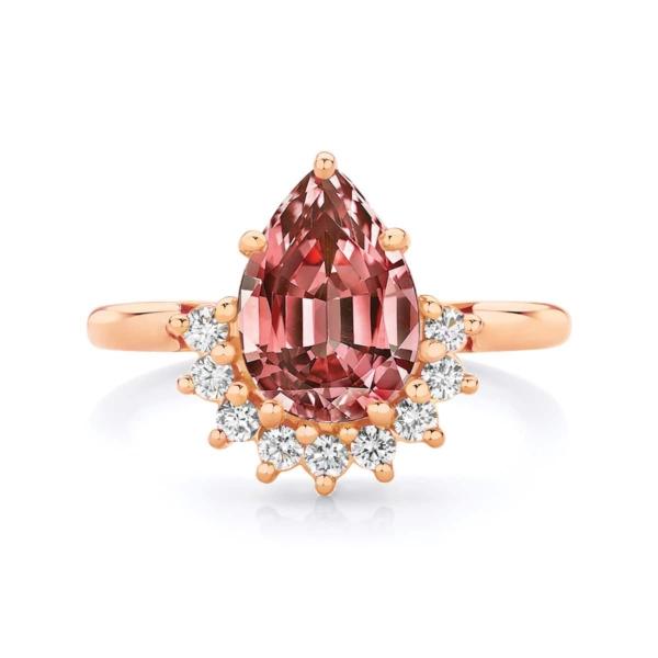 Pear Halo Engagement Ring Rose Gold | Celestial (Malaya)