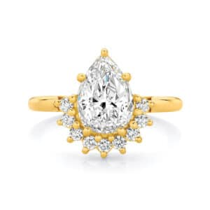 Pear Halo Engagement Ring Yellow Gold | Celestial