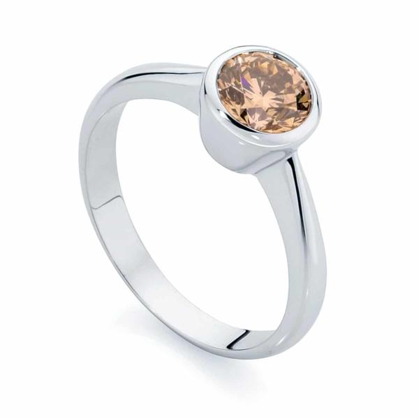 Round Solitaire Engagement Ring Platinum | Champagne