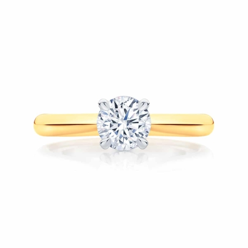 Round Solitaire Engagement Ring Yellow Gold | Cupid