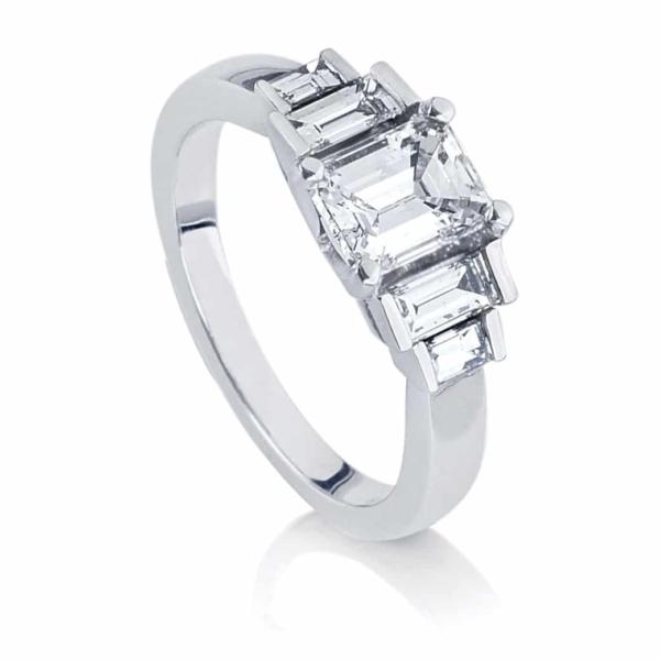 Emerald Baguette Engagement Ring Platinum | Deco