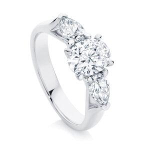 Oval Three Stone Engagement Ring Platinum   Delta Trio