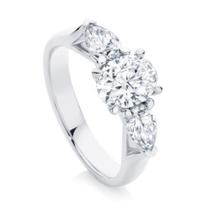 Oval Three Stone Engagement Ring White Gold | Delta Trio