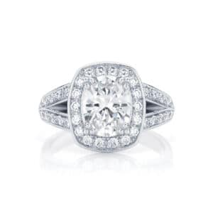 Halo Engagement Ring White Gold | Diamond Sky