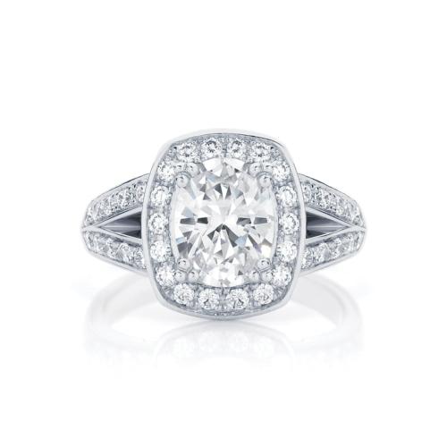 Halo Engagement Ring White Gold | Diamond Sky