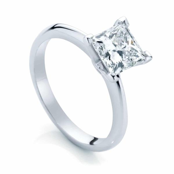 Princess Solitaire Engagement Ring Platinum   Eclipse