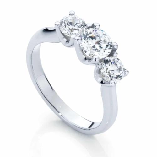 Round Three Stone Engagement Ring White Gold | Embrace Trio