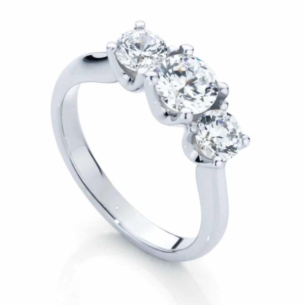 Round Three Stone Engagement Ring White Gold   Embrace Trio