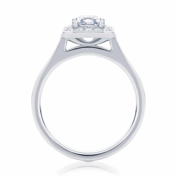 Emerald Halo Engagement Ring Platinum | Emerald Serenity