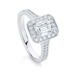 Emerald Halo Engagement Ring Platinum   Emerald Serenity