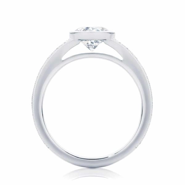 Round Bezel Set Engagement Ring Platinum | Empress