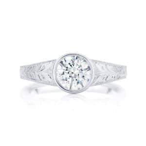 Engraved Detail Engagement Ring White Gold | Empress