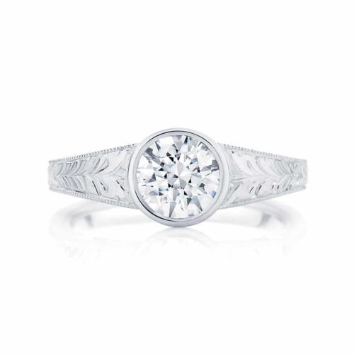 Engraved Detail Engagement Ring White Gold   Empress