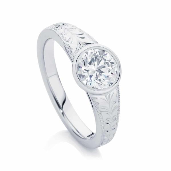 Engraved Detail Engagement Ring White Gold | Empress