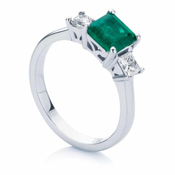 Princess Three Stone Engagement Ring White Gold | Enchanted