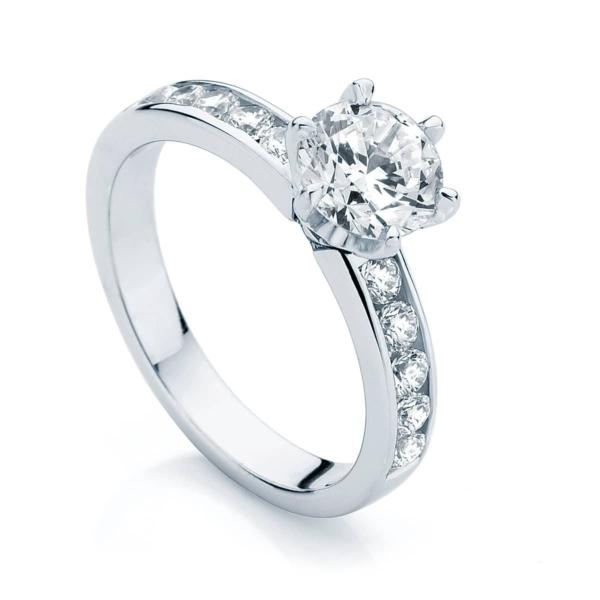 Round Side Stones Engagement Ring Platinum | Encore