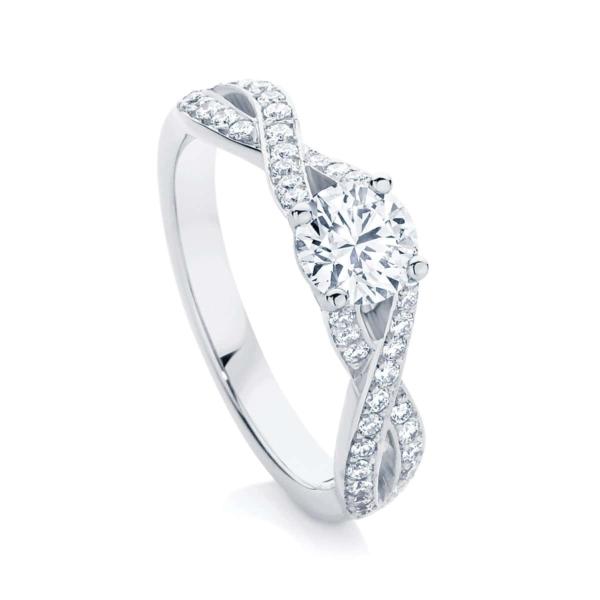 Round Side Stones Engagement Ring Platinum | Entwine II