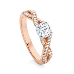 Round Side Stones Engagement Ring Rose Gold | Entwine II