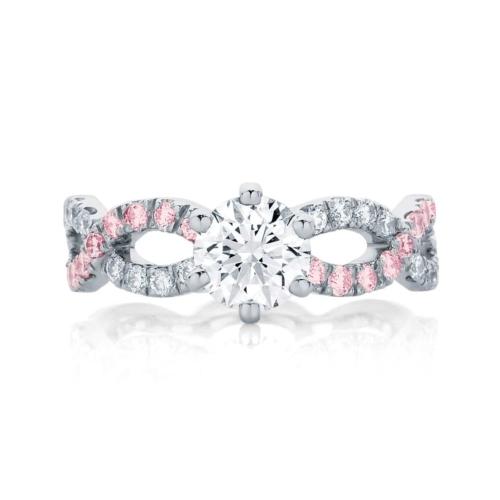 Pink Sapphire Engagement Ring Platinum | Entwine III