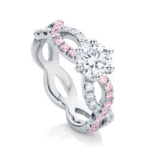 Pink Diamond Engagement Ring Platinum   Entwine IV