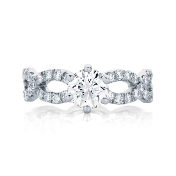 Round Side Stones Engagement Ring Platinum   Entwine