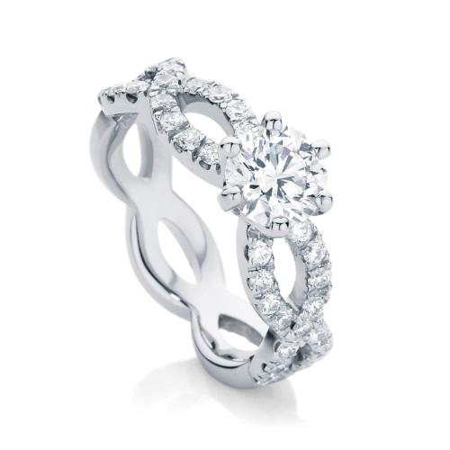 Round Side Stones Engagement Ring Platinum | Entwine