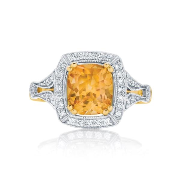 Cushion Halo Engagement Ring Yellow Gold | Evening Light