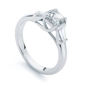 Asscher Three Stone Engagement Ring White Gold | Fern