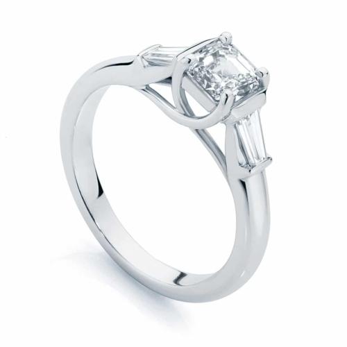 Asscher Three Stone Engagement Ring White Gold   Fern