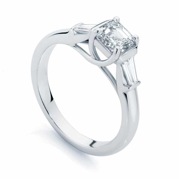 Asscher Three Stone Engagement Ring White Gold | Fern