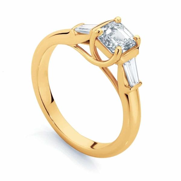 Asscher Three Stone Engagement Ring Yellow Gold | Fern