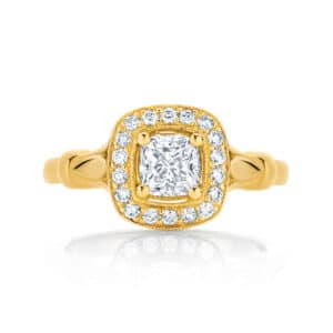 Round Halo Engagement Ring Yellow Gold | Florence